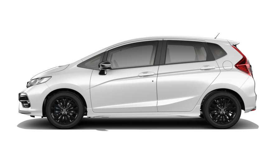 Side facing Honda Jazz in Platinum White Pearl.