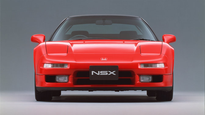 Vue avant de la Honda NSX, photo studio.