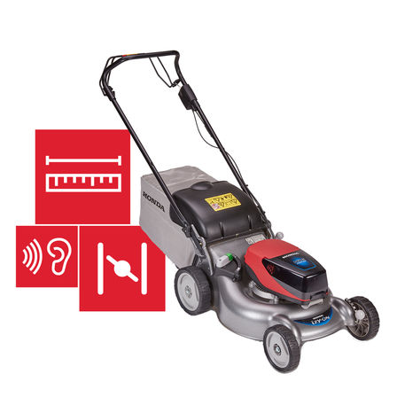 Honda cordless izy-ON mower with specifications illustration.