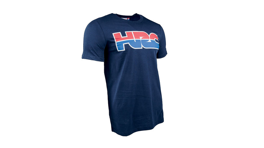 T-shirt HRC bleu avec logo Honda Racing Corporation.