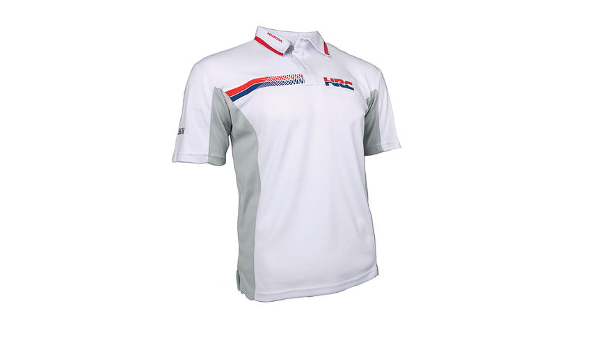 Polo HRC blanc avec logo Honda Racing Corporation.