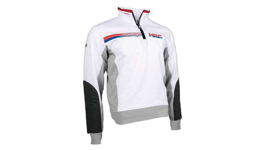 Sweat à capuche Honda HRC blanc, avec logo Honda Racing Corporation.